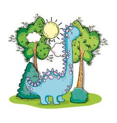 Brontosaurus prehistoric dino animal with trees vector