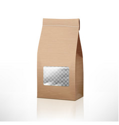 Brown craft paper bag packaging with transparent vector
