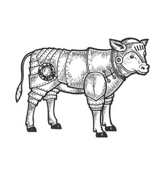 calf bull in knight armor sketch engraving vector image