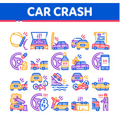 Car crash accident collection icons set vector