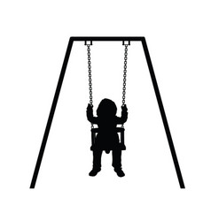 child silhouette cute on swing vector image