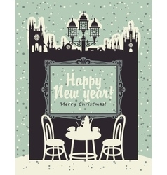 Christmas card with an interior of a cafe vector image