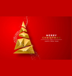 christmas new year gold 3d low poly tree red card vector image
