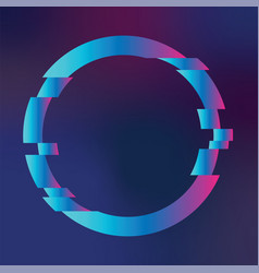 Circle with glitch effect on colorful bacground vector