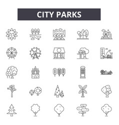 city parks line icons signs set outline vector image