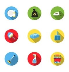 Cleaning set icons in flat style Big collection vector image