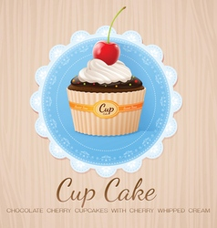 cup cake chocolate cherry on table wood vector image