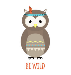 Cute tribal owl isolated on white background vector