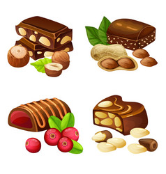 Dark and milk chocolate candies set vector
