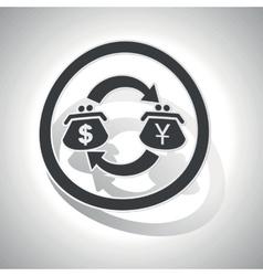 Dollar-yen trade sign sticker curved vector