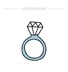 doodle icon ring with a diamond vector image