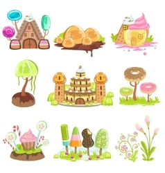 Fantasy Landscape Elements Made Of Sweets And vector image