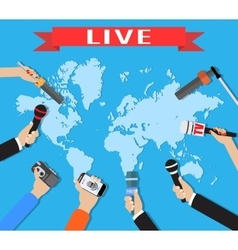 Few hands of journalists with microphones vector