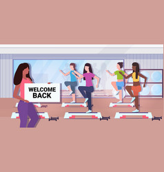 Fitness trainer holding welcome back sign board vector