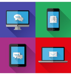 Flat icons PC laptop cell phone and tablet vector image