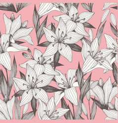 Flowers hand drawing seamless pattern on a pink vector