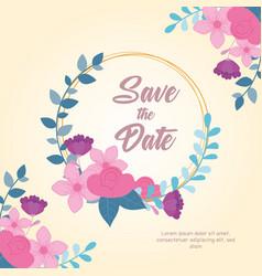 flowers wedding save date flowers leaves vector image