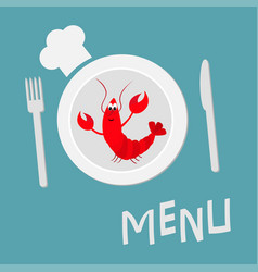 Fork plate knife and chefs hat lobster with claw vector