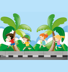 Four kids running on the pavement vector