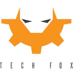 Fox head and gear design template vector