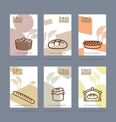Fresh bread set of banners Baking Private bakery vector image