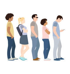 full length cartoon people standing queue vector image