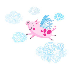 funny drawing a pink piggy vector image