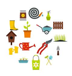 gardening icons set flat styl vector image