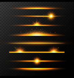 gold glowing lines with stars set shining line vector image