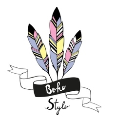 Hand drawn bird feathers with ribbon vector