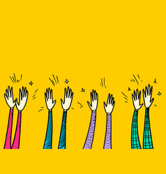 Hand drawn colorful applause gesture vector