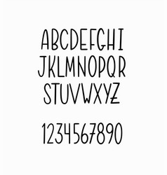 hand-drawn simple thin lettering alphabet vector image
