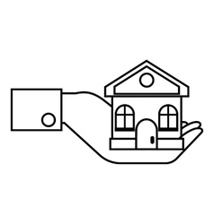 Hand holding house icon outline style vector