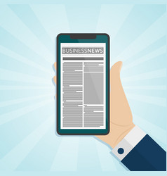 hand holding smartphone with newspaper on the vector image