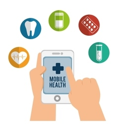 Hand holds smartphone mobile health icons vector