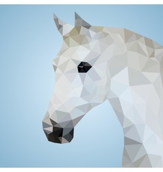 head a white horse in triangular style vector image