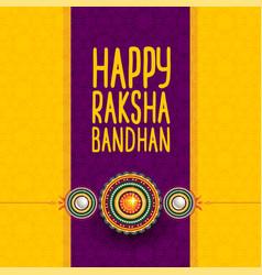 Hindu festival happy raksha bandhan greeting vector