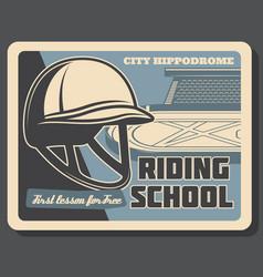 Horse hippodrome and jockey helmet riding school vector