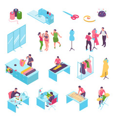 isometric sewing studio color icon set vector image