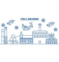 italy bologna winter city skyline merry vector image