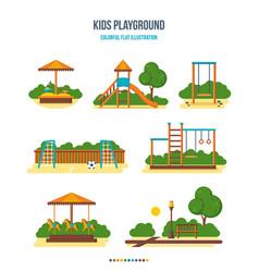 Kids playground sandpit slide football field vector