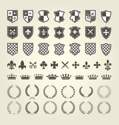 kit of coat of arms for knight shields and royal e vector image