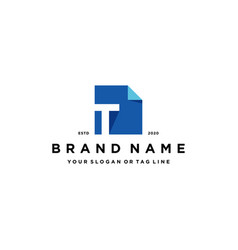 Letter t document logo design vector