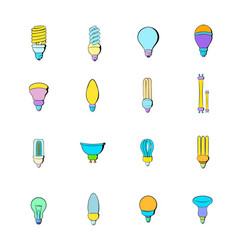 light bulb icons set cartoon vector image