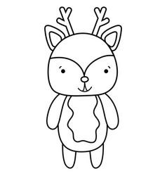Line cute and happy deer wild animal vector