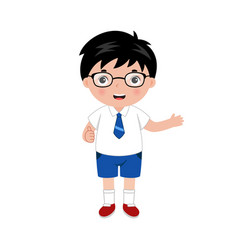 little boy with eyeglasses in vector image
