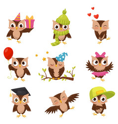 lovely little brown owlets set cute bird cartoon vector image