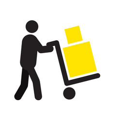 Man carrying two boxes with hand truck silhouette vector