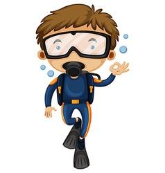 Man doing scuba diving vector