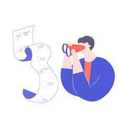 man looks through binoculars vector image